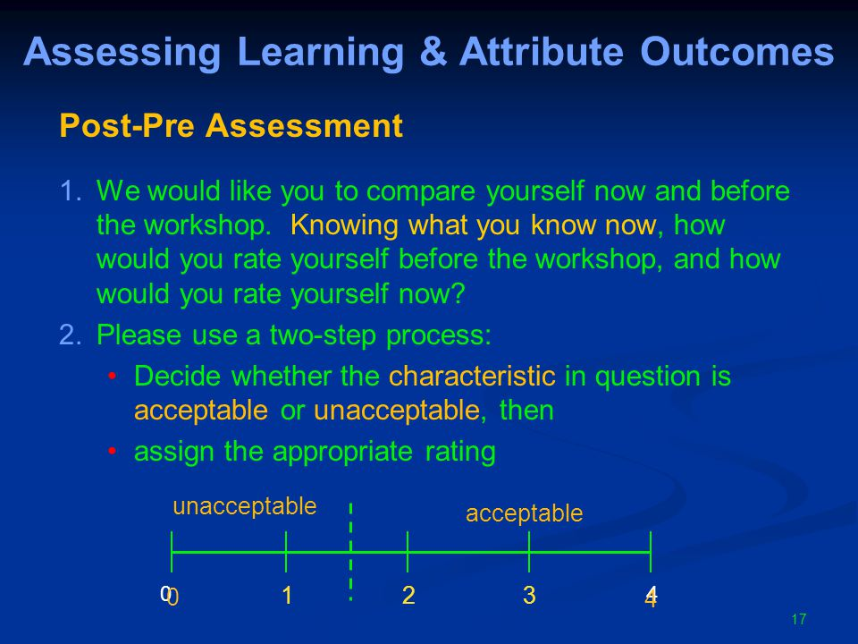 17 Assessing Learning & Attribute Outcomes Post-Pre Assessment 1.We would like you to compare yourself now and before the workshop.