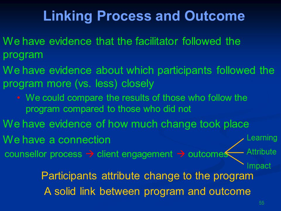 Linking Process and Outcome We have evidence that the facilitator followed the program We have evidence about which participants followed the program more (vs.