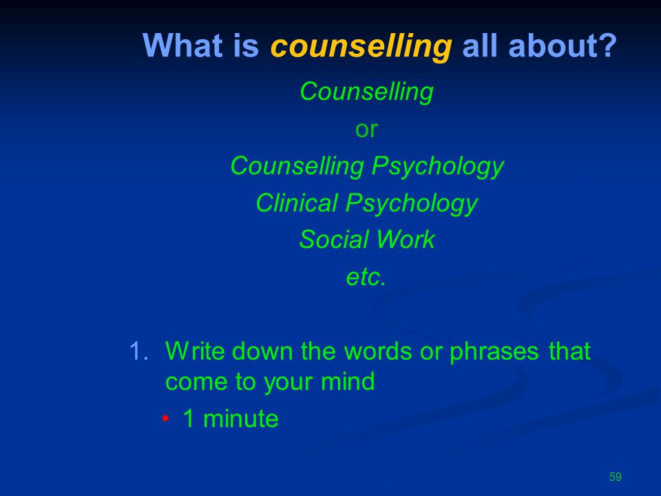59 What is counselling all about.