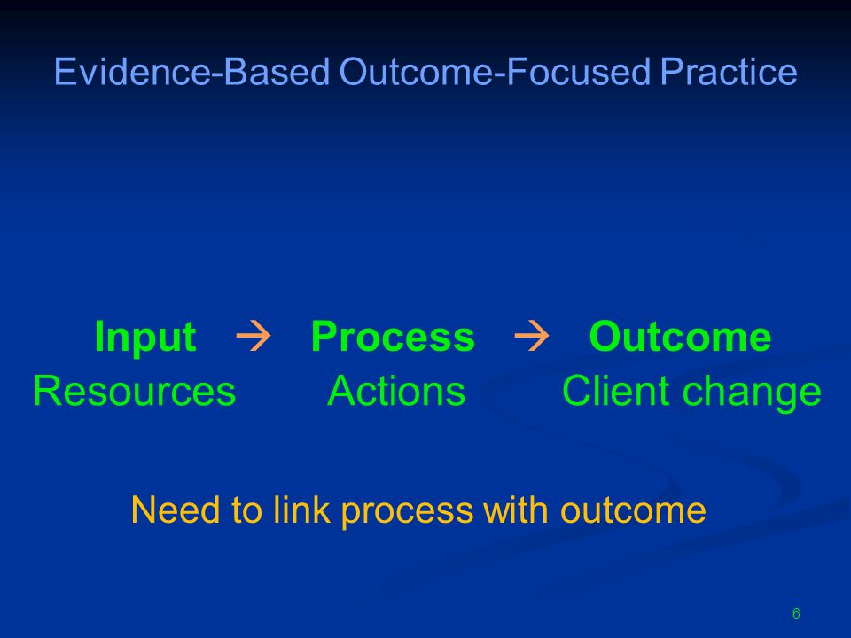 6 Evidence-Based Outcome-Focused Practice Input  Process  Outcome Need to link process with outcome Resources Actions Client change