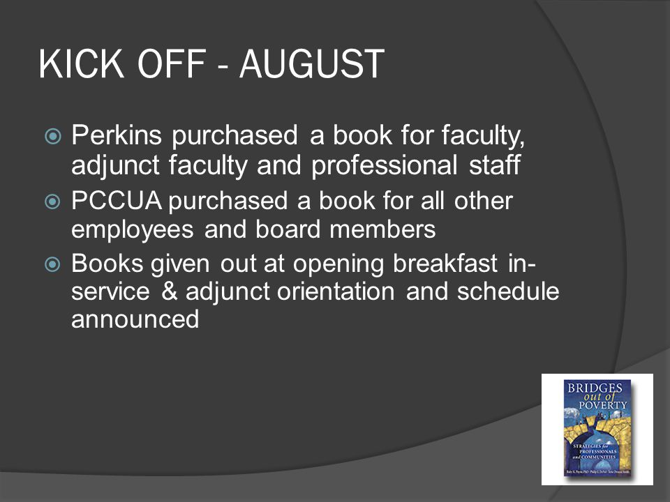 KICK OFF - AUGUST  Perkins purchased a book for faculty, adjunct faculty and professional staff  PCCUA purchased a book for all other employees and board members  Books given out at opening breakfast in- service & adjunct orientation and schedule announced