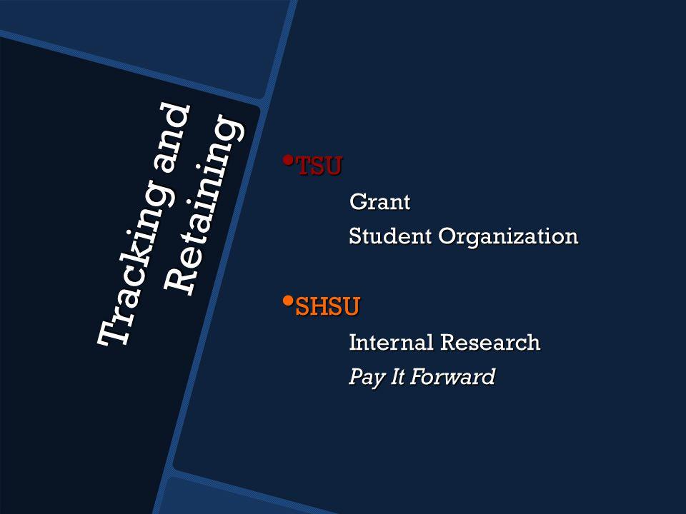 Tracking and Retaining TSU TSUGrant Student Organization SHSU SHSU Internal Research Internal Research Pay It Forward