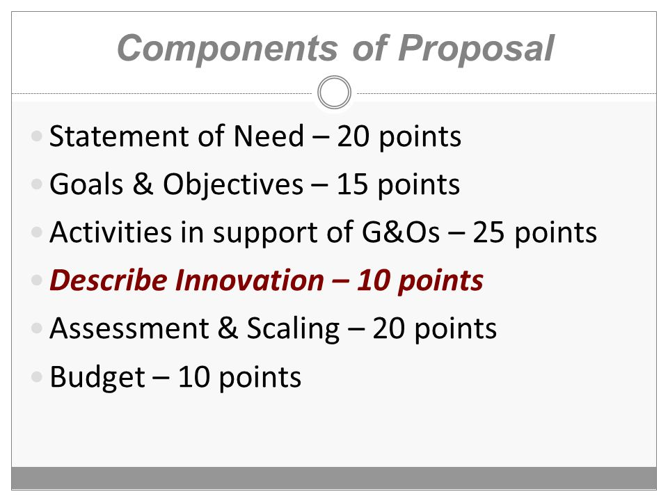 Components of Proposal Statement of Need – 20 points Goals & Objectives – 15 points Activities in support of G&Os – 25 points Describe Innovation – 10 points Assessment & Scaling – 20 points Budget – 10 points