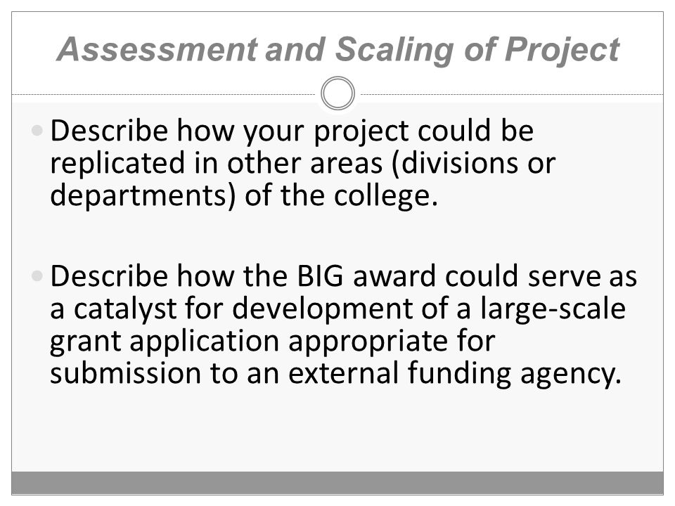 Assessment and Scaling of Project Describe how your project could be replicated in other areas (divisions or departments) of the college.