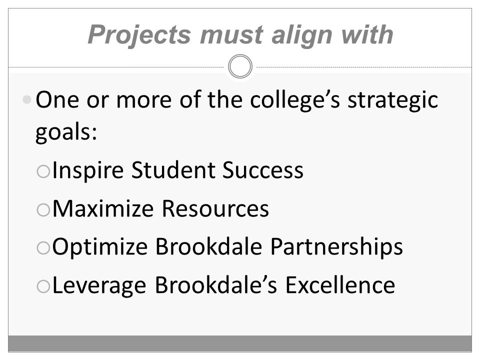 Projects must align with One or more of the college's strategic goals:  Inspire Student Success  Maximize Resources  Optimize Brookdale Partnerships  Leverage Brookdale's Excellence