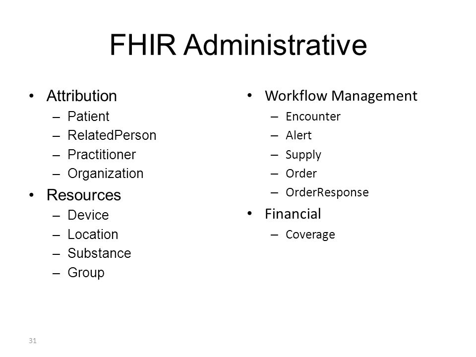 FHIR Administrative Attribution –Patient –RelatedPerson –Practitioner –Organization Resources –Device –Location –Substance –Group Workflow Management