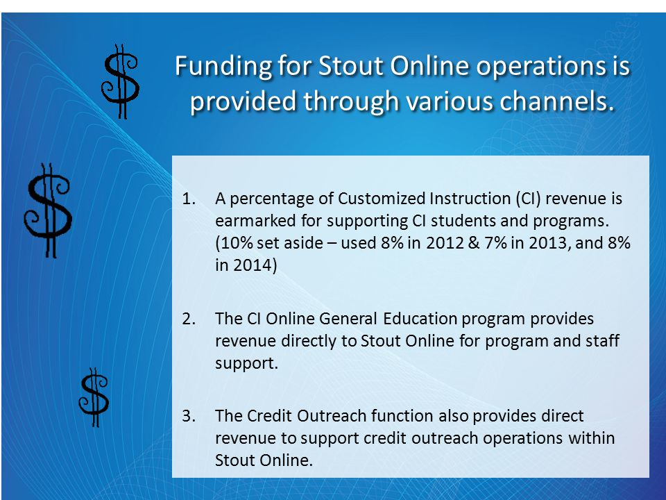 Funding for Stout Online operations is provided through various channels.