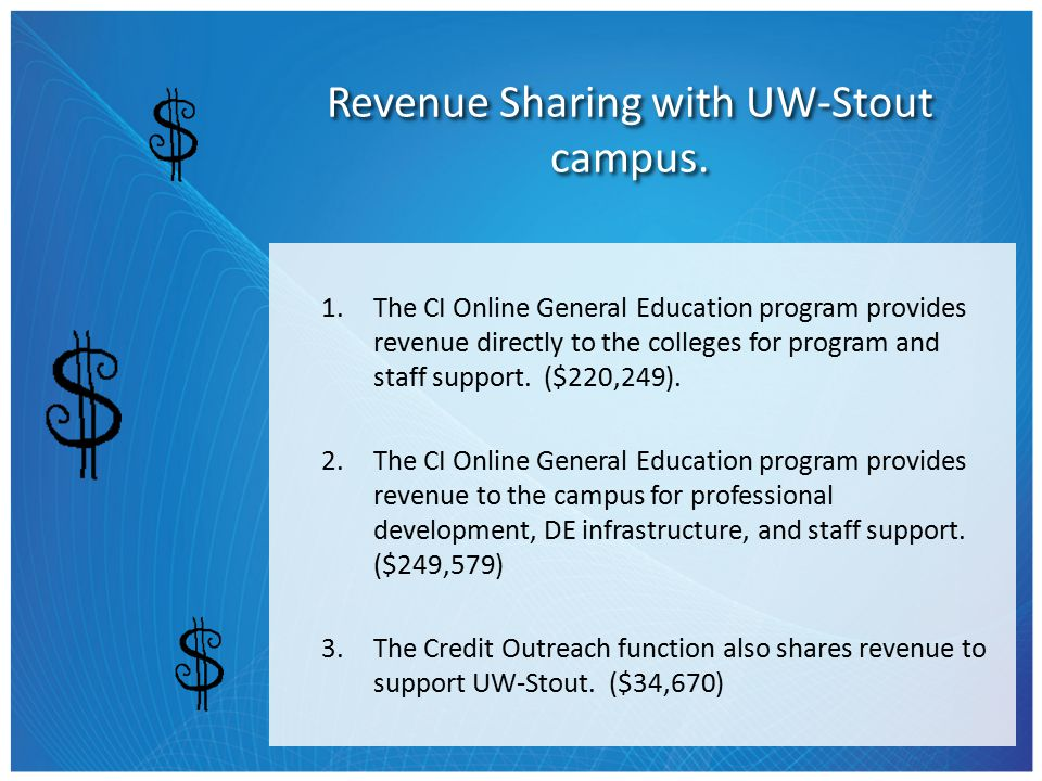 Revenue Sharing with UW-Stout campus.