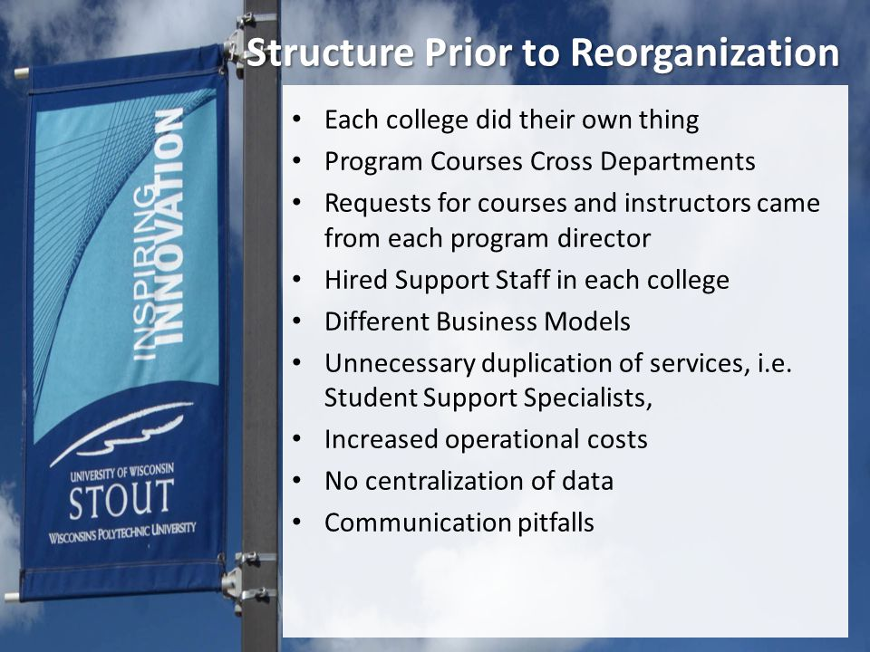 Structure Prior to Reorganization Each college did their own thing Program Courses Cross Departments Requests for courses and instructors came from each program director Hired Support Staff in each college Different Business Models Unnecessary duplication of services, i.e.