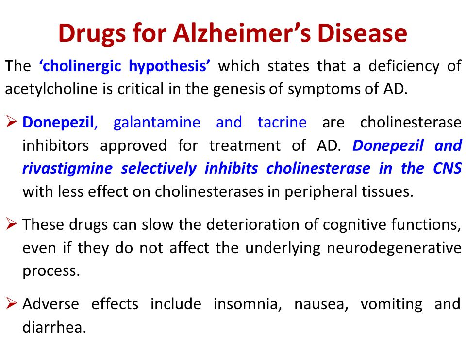 Drugs for Alzheimer's Disease The 'cholinergic hypothesis' which states that a deficiency of acetylcholine is critical in the genesis of symptoms of AD.