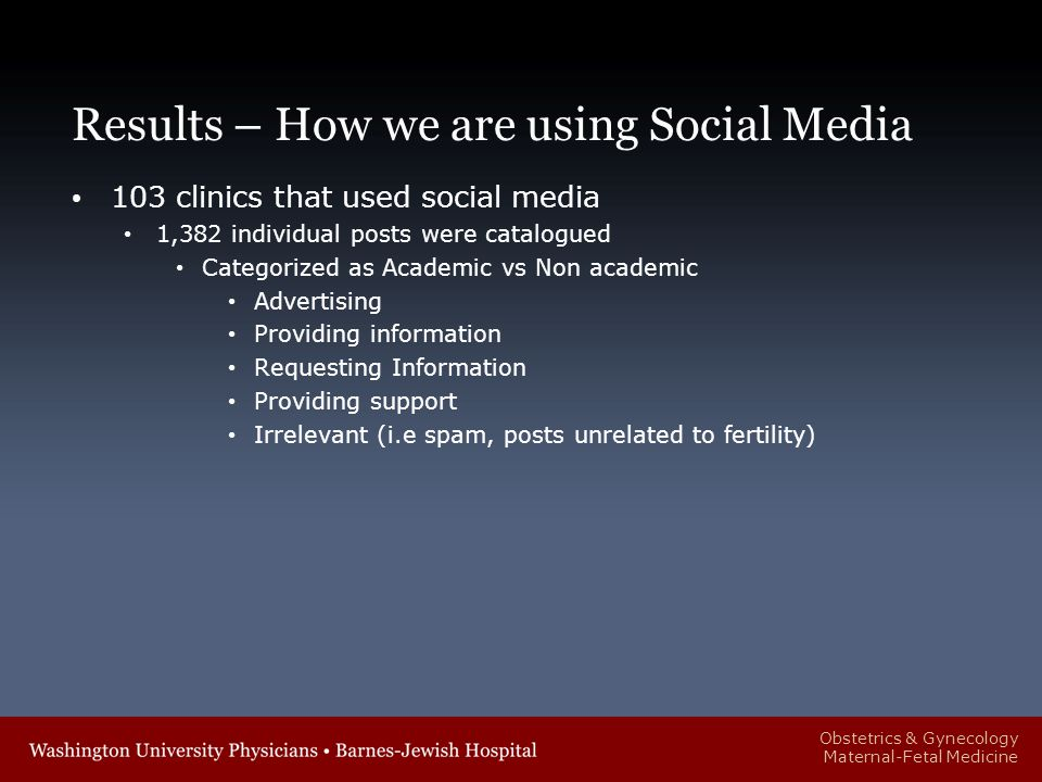 Obstetrics & Gynecology Maternal-Fetal Medicine Results – How we are using Social Media 103 clinics that used social media 1,382 individual posts were catalogued Categorized as Academic vs Non academic Advertising Providing information Requesting Information Providing support Irrelevant (i.e spam, posts unrelated to fertility)