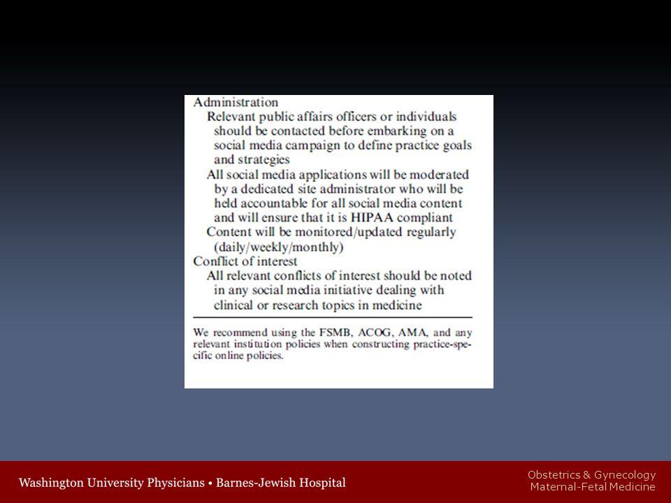 Obstetrics & Gynecology Maternal-Fetal Medicine