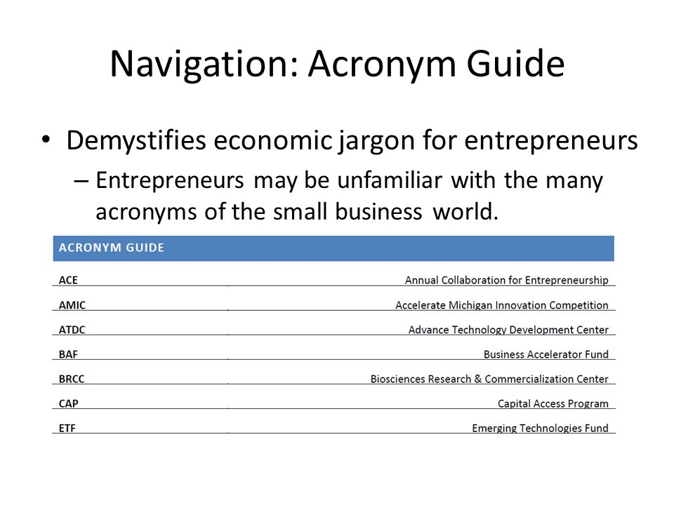 Navigation: Acronym Guide Demystifies economic jargon for entrepreneurs – Entrepreneurs may be unfamiliar with the many acronyms of the small business world.