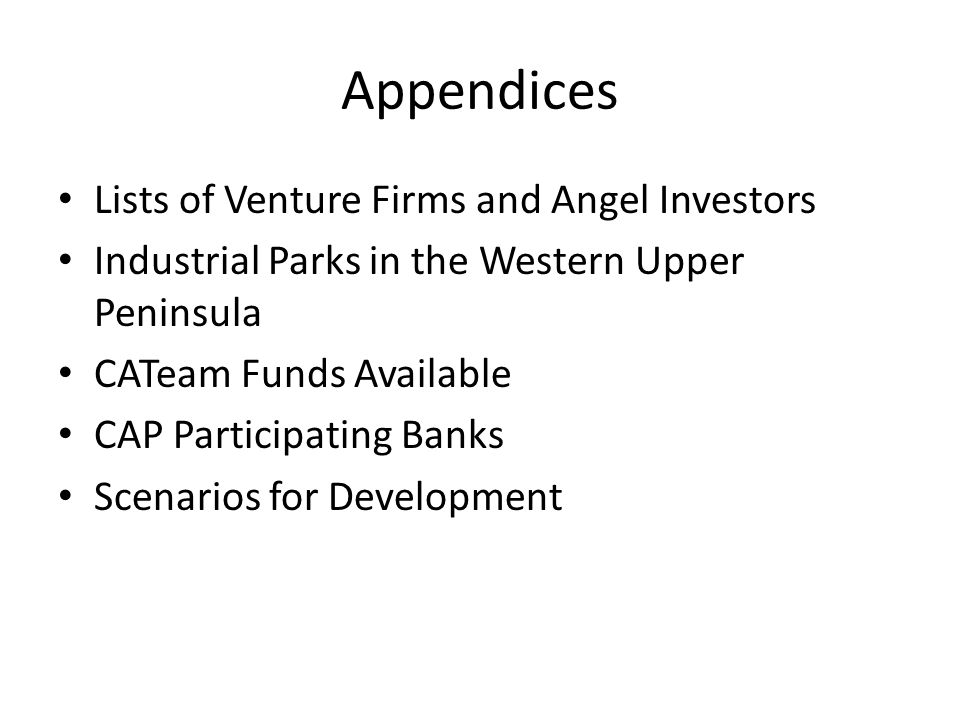 Appendices Lists of Venture Firms and Angel Investors Industrial Parks in the Western Upper Peninsula CATeam Funds Available CAP Participating Banks Scenarios for Development