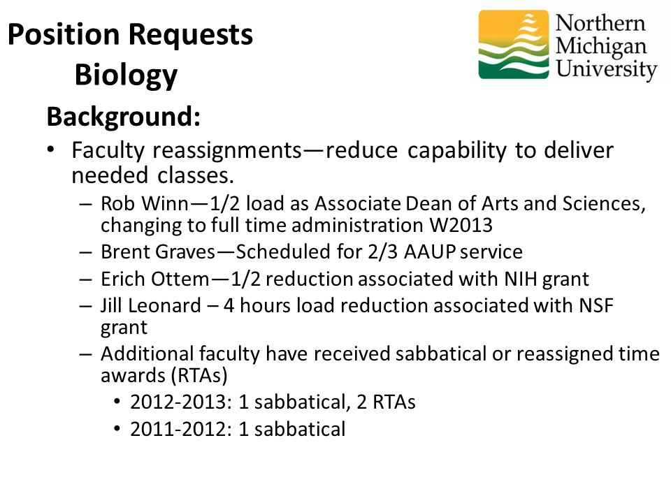 Background: Faculty reassignments—reduce capability to deliver needed classes.