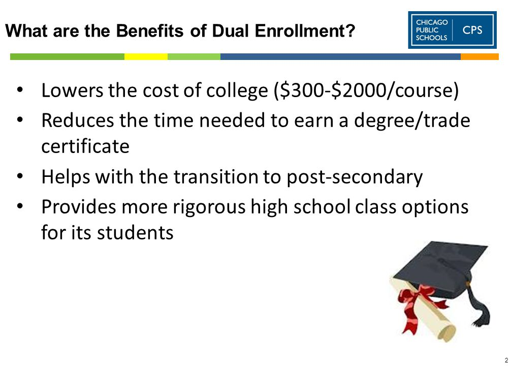 2 Lowers the cost of college ($300-$2000/course) Reduces the time needed to earn a degree/trade certificate Helps with the transition to post-secondary Provides more rigorous high school class options for its students What are the Benefits of Dual Enrollment