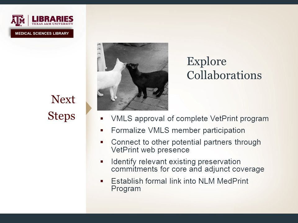 Next Steps  VMLS approval of complete VetPrint program  Formalize VMLS member participation  Connect to other potential partners through VetPrint w