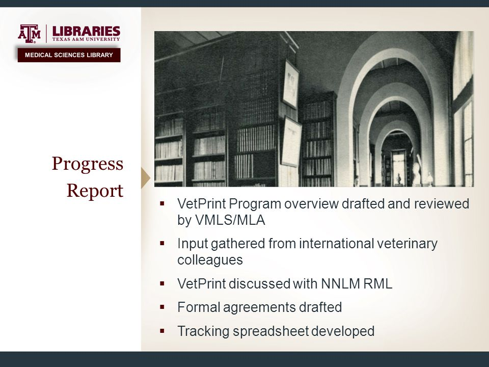 Progress Report  VetPrint Program overview drafted and reviewed by VMLS/MLA  Input gathered from international veterinary colleagues  VetPrint disc