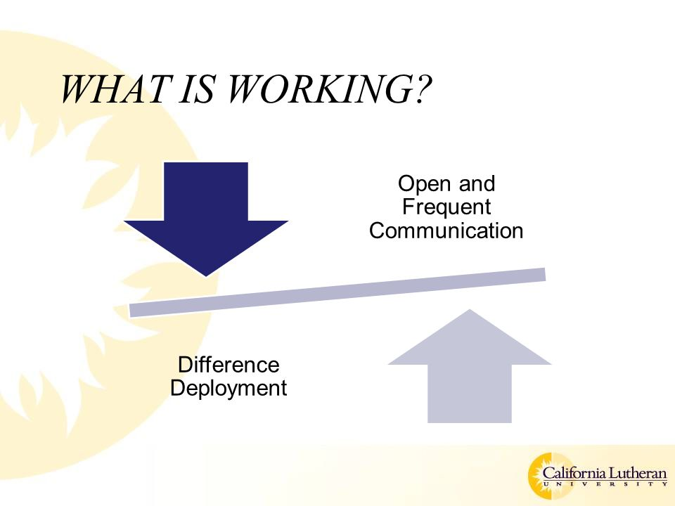 WHAT IS WORKING Open and Frequent Communication Difference Deployment