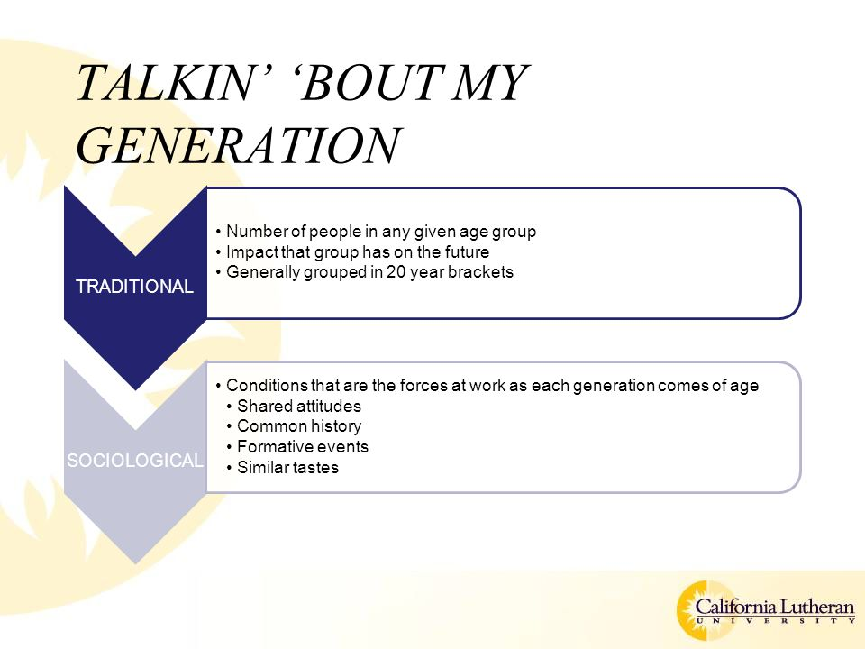 TALKIN' 'BOUT MY GENERATION TRADITIONAL Number of people in any given age group Impact that group has on the future Generally grouped in 20 year brackets SOCIOLOGICAL Conditions that are the forces at work as each generation comes of age Shared attitudes Common history Formative events Similar tastes