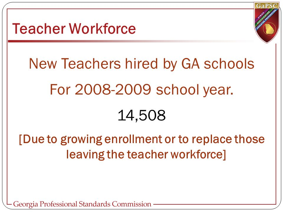 Teacher Workforce New Teachers hired by GA schools For 2008-2009 school year.