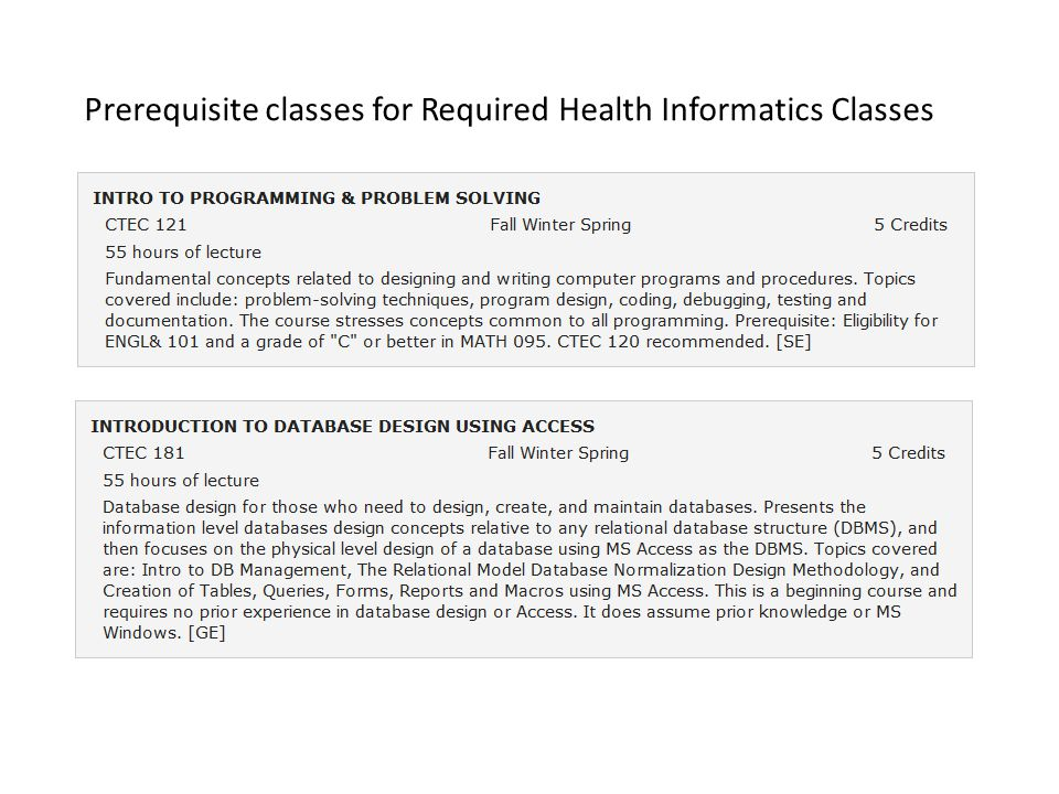 Prerequisite classes for Required Health Informatics Classes