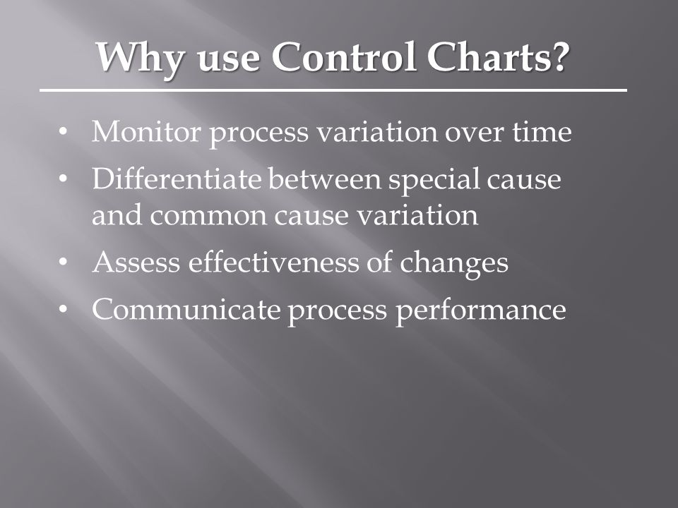 Monitor process variation over time Differentiate between special cause and common cause variation Assess effectiveness of changes Communicate process performance Why use Control Charts
