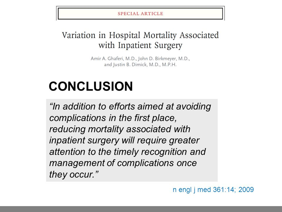 """CONCLUSION """"In addition to efforts aimed at avoiding complications in the first place, reducing mortality associated with inpatient surgery will requi"""