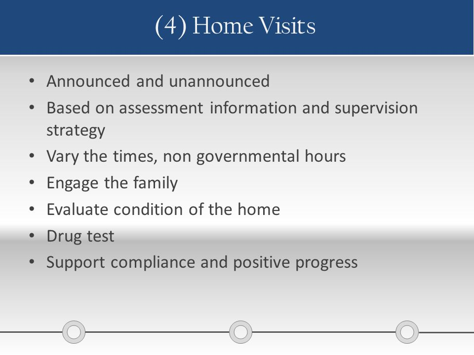 (4) Home Visits Announced and unannounced Based on assessment information and supervision strategy Vary the times, non governmental hours Engage the f