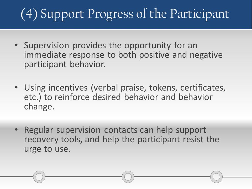 (4) Support Progress of the Participant Supervision provides the opportunity for an immediate response to both positive and negative participant behav