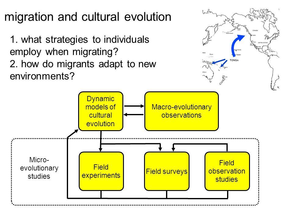 Dynamic models of cultural evolution Macro-evolutionary observations Micro- evolutionary studies Field experiments Field surveys Field observation studies TONGA migration and cultural evolution 1.