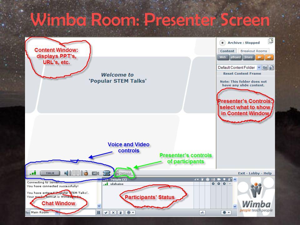 Wimba Room: Presenter Screen