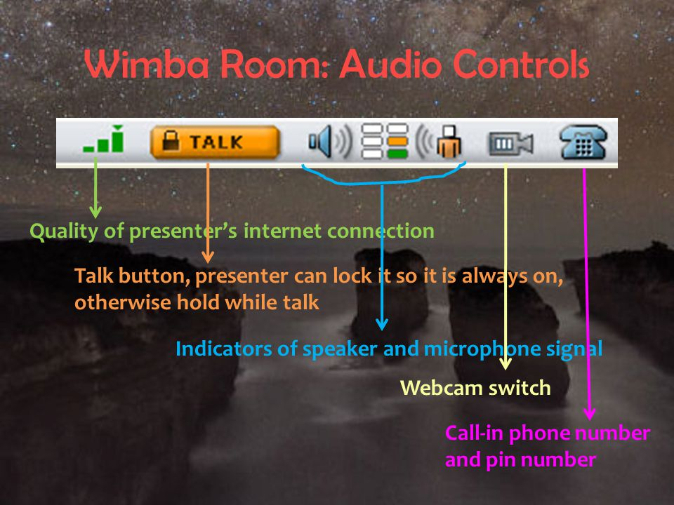 Wimba Room: Audio Controls Quality of presenter's internet connection Talk button, presenter can lock it so it is always on, otherwise hold while talk Indicators of speaker and microphone signal Webcam switch Call-in phone number and pin number