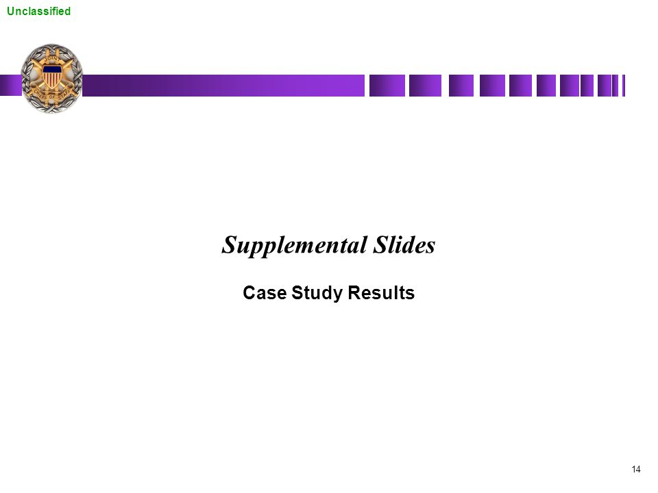 Unclassified 14 Supplemental Slides Case Study Results