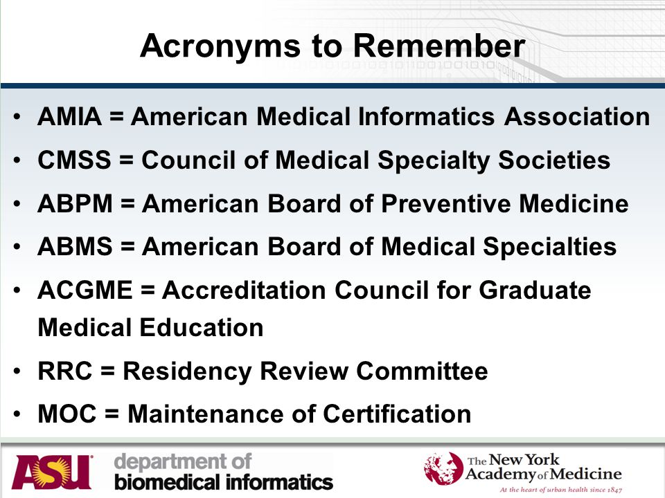 Acronyms to Remember AMIA = American Medical Informatics Association CMSS = Council of Medical Specialty Societies ABPM = American Board of Preventive Medicine ABMS = American Board of Medical Specialties ACGME = Accreditation Council for Graduate Medical Education RRC = Residency Review Committee MOC = Maintenance of Certification