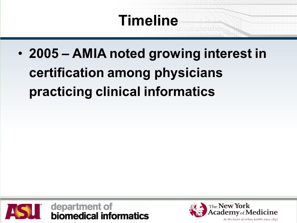 Timeline 2005 – AMIA noted growing interest in certification among physicians practicing clinical informatics
