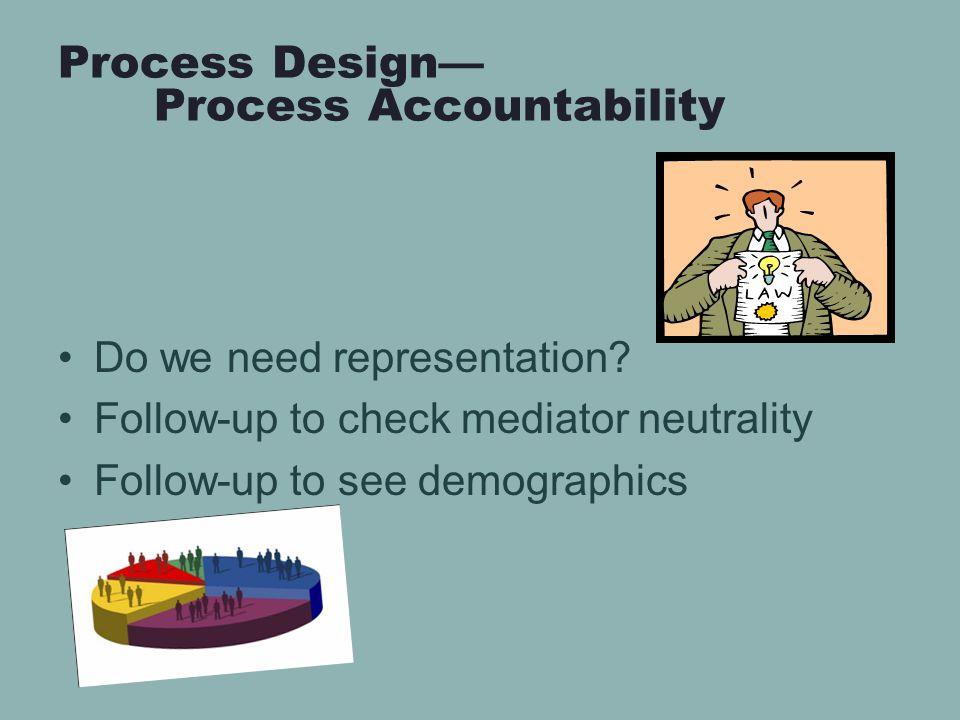 Process Design— Process Accountability Do we need representation.