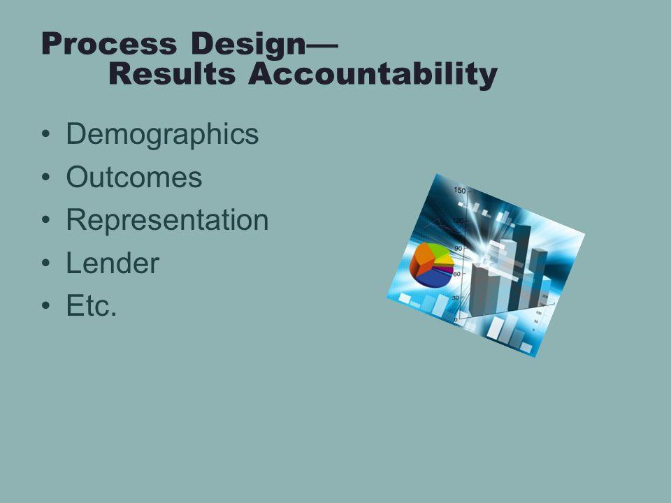 Process Design— Results Accountability Demographics Outcomes Representation Lender Etc.