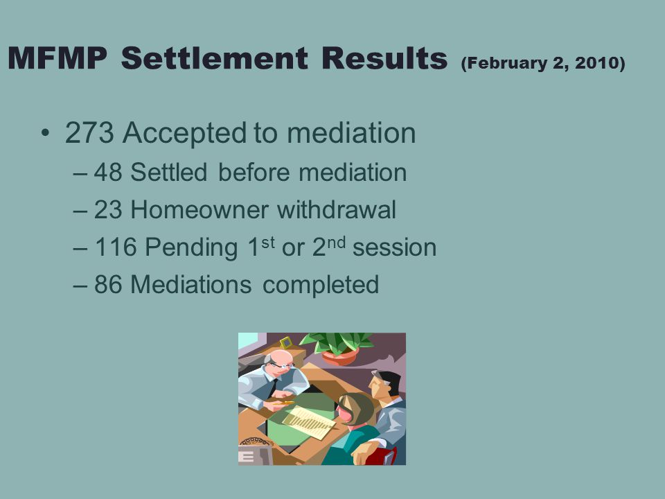 MFMP Settlement Results (February 2, 2010) 273 Accepted to mediation –48 Settled before mediation –23 Homeowner withdrawal –116 Pending 1 st or 2 nd session –86 Mediations completed