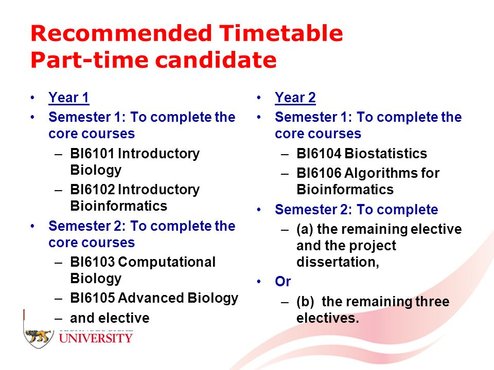 Recommended Timetable Part-time candidate Year 1 Semester 1: To complete the core courses –BI6101 Introductory Biology –BI6102 Introductory Bioinformatics Semester 2: To complete the core courses –BI6103 Computational Biology –BI6105 Advanced Biology –and elective Year 2 Semester 1: To complete the core courses –BI6104 Biostatistics –BI6106 Algorithms for Bioinformatics Semester 2: To complete –(a) the remaining elective and the project dissertation, Or –(b) the remaining three electives.