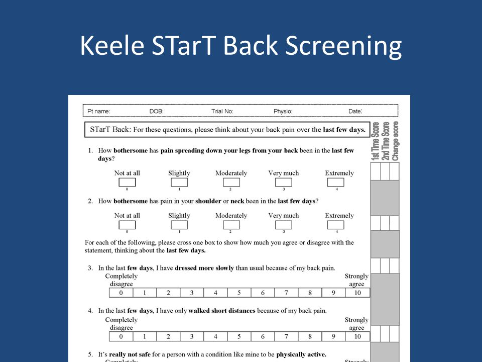 Keele STarT Back Screening