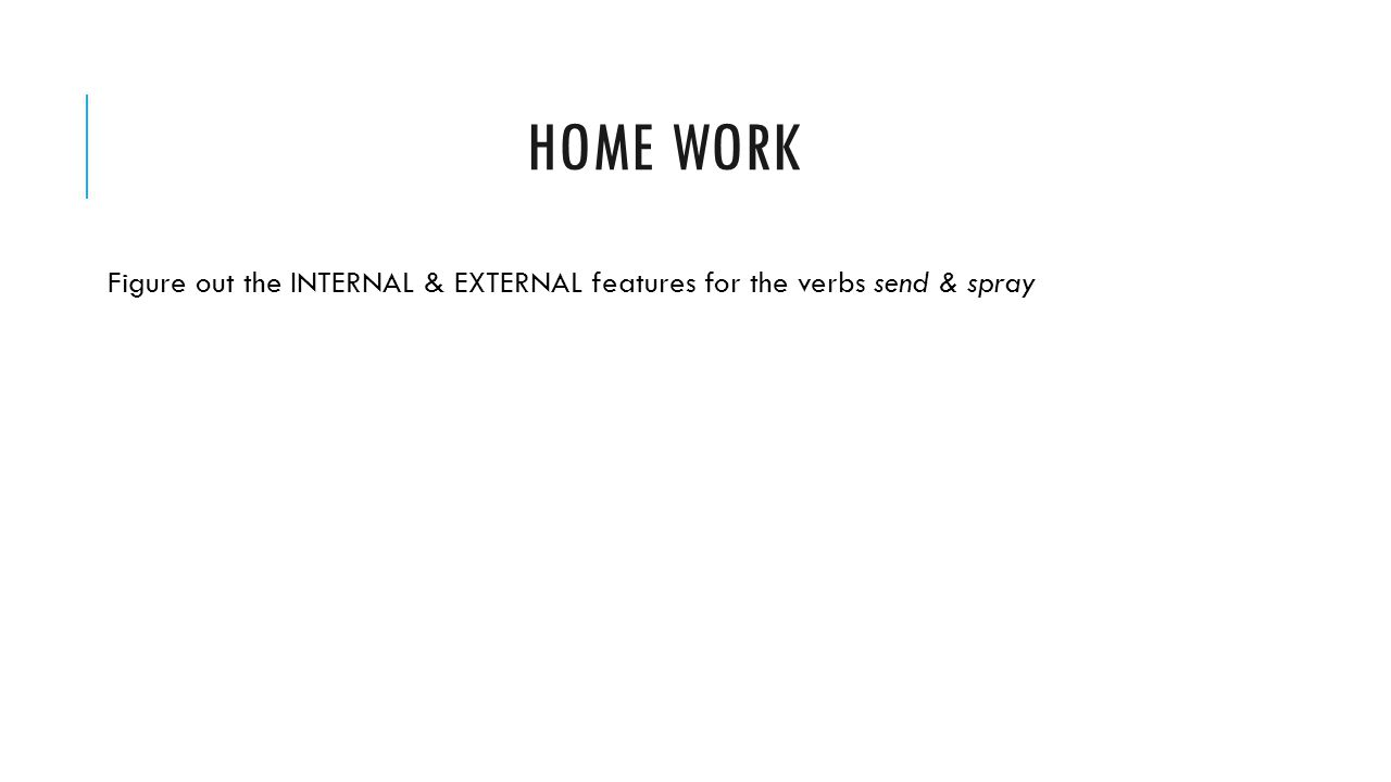 HOME WORK Figure out the INTERNAL & EXTERNAL features for the verbs send & spray