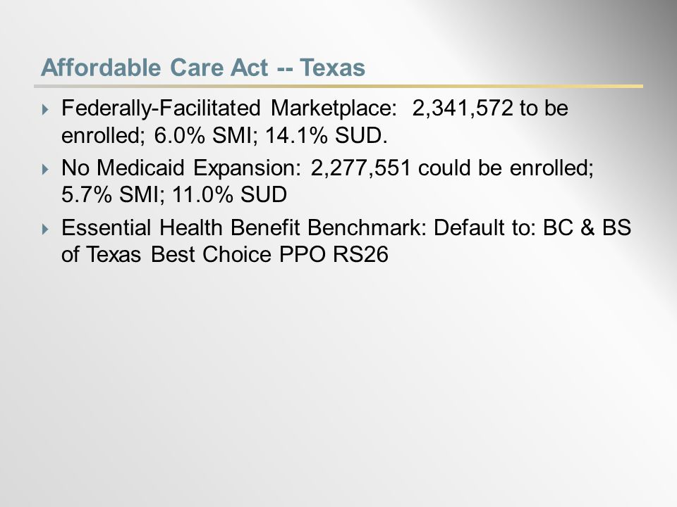 State Estimates of the Uninsured  You can access state estimates for the Medicaid Expansion and for the State Marketplace at http://www.samhsa.gov/healthReform/enrollment.