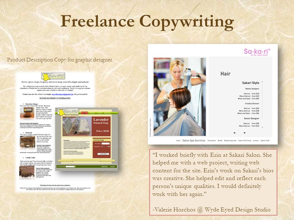 Freelance Copywriting Product Description Copy for graphic designer.