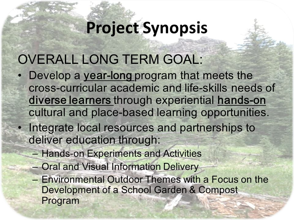 Project Synopsis Think BIG ; Start small SHORT TERM GOAL Create a 1 st quarter plan that: – Gets the project started – Creates student ownership – Keeps the momentum flowing, creating energy for continuance – Lays the groundwork for the school year