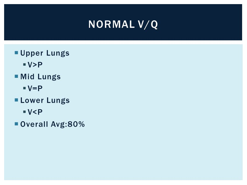  Upper Lungs  V>P  Mid Lungs  V=P  Lower Lungs  V<P  Overall Avg:80% NORMAL V/Q