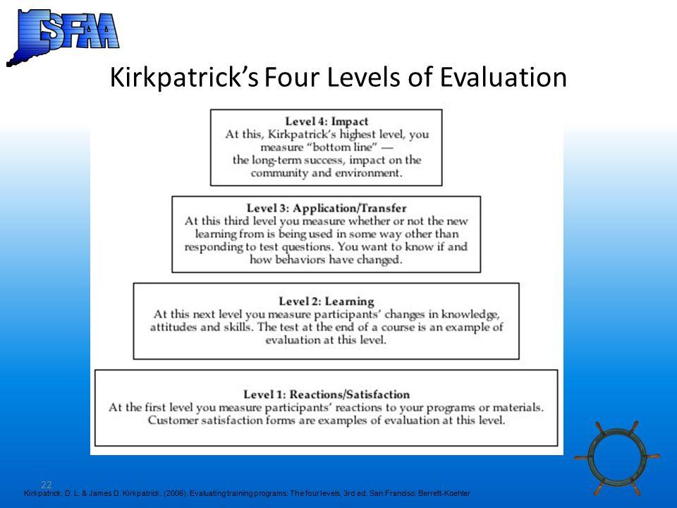 22 Kirkpatrick's Four Levels of Evaluation Kirkpatrick, D.