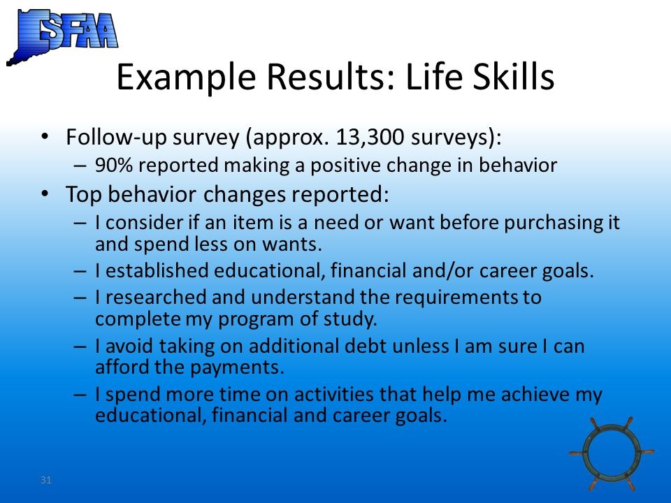 31 Example Results: Life Skills Follow-up survey (approx.