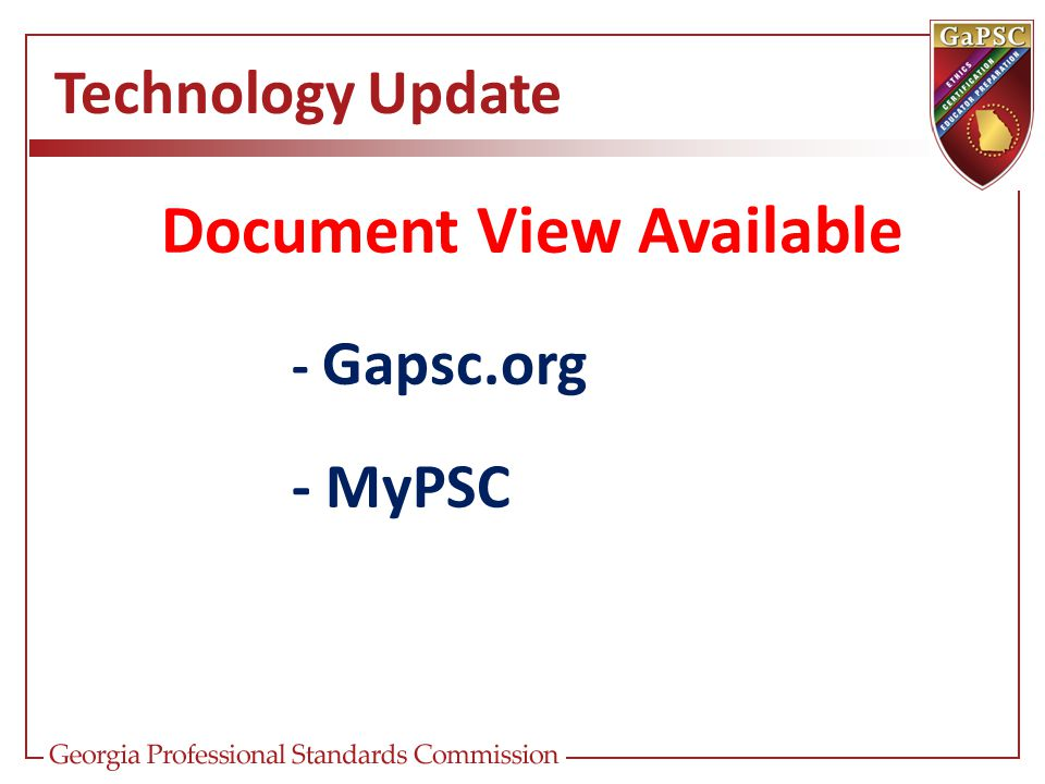 Technology Update Document View Available - Gapsc.org - MyPSC