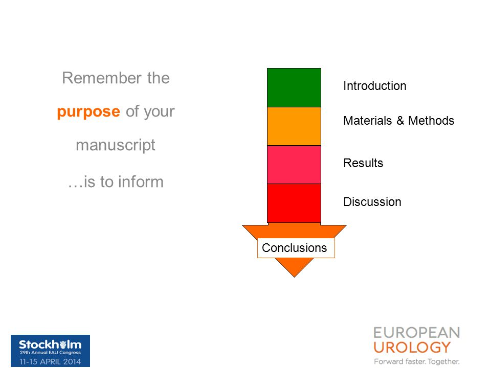 Remember the purpose of your manuscript …is to inform Introduction Materials & Methods Results Discussion Conclusions